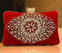 beaded purse kit - Fashion Ladies Bridal Hand Bags Crystal Rhinestone Designer Red Black Flowers Stain Metal Evening Clutch Bag Shoulder Makeup Kit Box Purse