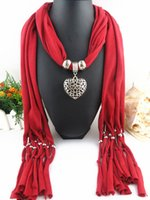 Wholesale Pendant necklace scarves shawls womens novel cotton fashion scarves Heart pendants tassels jewelry necklace scarf Nickle Free