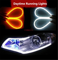 car lights - 2015 Daytime Running Lights Flexible Headlight Daytime Lamp Switchback Strip Angel Eye DRL Decorative Light With Turn Signal car styling