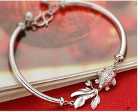 best fish for kids - Charm Gold Fish Silver Women Bracelet Simulated Diamond Crystal Braceletes Kids Jewelry Gift for Best Friends S073