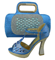 italian shoes - High grade Italian style shoes matching bags series C1308 blue Pretty ady shoes and handbag sets for party