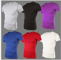 Wholesale Mens Short Sleeve T shirt Sports Casual T Shirt Men Tshirt Slim Fit Tees Gym Fitness Compression Shirt