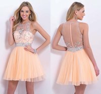 sexy mini short - Homecoming Dresses Sheer Crystal Beaded Sleeveless Peach Tulle Short Mini Illusion Back Cocktail Party Gowns BL9876