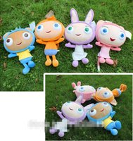Wholesale 6 off2015new arrival Original Preschool Cartoon TV Show Waybuloo Monkey Cat Rabbit Bear Soft Doll Plush Baby toys set