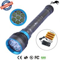 Wholesale DV07 Lumen XML L2 LED Diving Flashlight Torch M Underwater Waterproof LED Flash Light Lantern Battery Charger