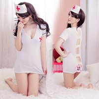 sexy nurse uniform - Sexy Costumes sujetador academia combinaison femme Plus size ol nurse clothing set uniform temptation women s transparent nightgown
