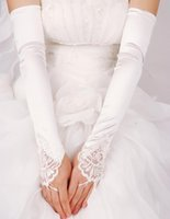 Wholesale 2015 Long Wedding Dresses Glove Lace Applique Beads Fingerless Bridal Accessories In Stock White Ivory Red Black dhyz
