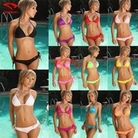 Wholesale 2016 Fashion Women Sexy Bikini Set Halter Neck bikinis for women Swimsuit swim wear for women bathing suits BY DHL