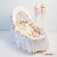 Wholesale Fast Delivery Portable Baby Bed Cradle Cotton Cloth Handmade Corn Bran Woven Bassinet Travel Baby Basket Colors Retail