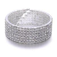 Wholesale 6Rows Clear Sparkle Rhinestone Elastic Bracelet Cuff for wedding Bridal Accessories