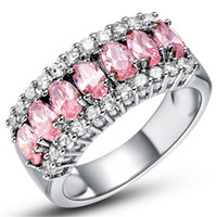 Wholesale Sweet White Gold Plated Rings Womens Fashion Finger Ring With Shiny Pink Zircon Studded Wedding Bride Jewelry Valentine Gifts K752