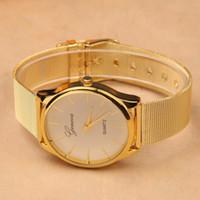 Caliente, relojes llenos del vestido de la manera de la mujer del acero inoxidable del reloj de sale.Gold Nueva calidad G-8072 del reloj del cuarzo de Ginebra de la marca de fábrica nueva libera DHL.