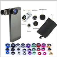 Wholesale HOT Universal In Clip on Fish Eye Macro Wide Angle cell Phone Lens Camera kit for iPhone Samsung S5 note3 Lenovo huawei all phone