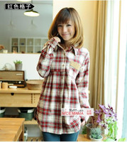 Wholesale 2015 the newest style spring and autumn maternity clothing shirt plaid long sleeve maternity top