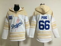 Wholesale Dodgers Yasiel Puig Lace Up Pullover Hooded Sweatshirt Los Angeles Sweater Warmth Baseball Jacket Winter Baseball Wear Hoodies for Men