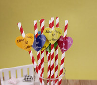Wholesale Adorning for Straws New Paper Custom Sticker for Wedding Party Heart Shape x3 cm Flag Shape x1 cm