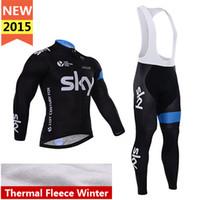 bicycle kit - hot SKY thermal Cycling Clothes Bib kits Long Sleeve bike racing Jersey jacket winter Cycling pants Bicycle fleece Jersey bib tights