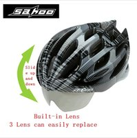 Wholesale SAHOO Cycling Helmet Glasses Integrally molded Safe Road Bike Bicycle Helmet Casco Mtb Capacete Ciclismo Pair Lens
