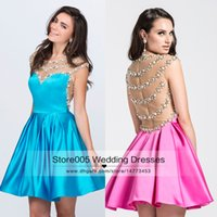 Wholesale Sexy Mini Dresses China - Sexy Pink Blue Short Homecoming Dresses Pearls See Through Back Knee Length Vintage Semi Formal Dress 2016 Cap Sleeve China S062