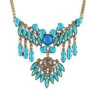 american com - Boheme Delicate Blue Beige Created Gemstone Collar Necklace for Women Gargantilha Com Pingente