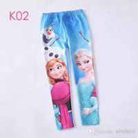Wholesale Free DHL Frozen Leggings For Girls Kids Princess Elsa Long Pants Tights Trouser Cartoon Clothes Frozen Fever Children Clothing Factory Price