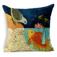 Cheap Chinese Style Foral Lotus Map Bird Golden Fish Love Pillow Case Cushion Cover Decorative Sofa Seat Linen Cotton Cushions Pillows Covers