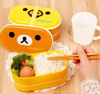double ovens - Cute Rilakkuma Bento Box Double Layer cm Plastic Lunch Box With Chopsticks Microwave Oven Available dandys