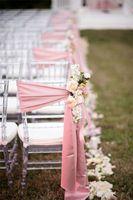 Wholesale Romantic Satin Wedding Party Anniversary Chair Sash Party Banquet Decorations Pieces Set Wedding Chair Sash WCS002
