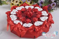 candy packaging supplies - 5 Sets Wedding Favor Holders Candy Boxes Wedding Gift Box Candy Party Chocolate Candy Box Package With Flowers Bow Ribbon Wedding Supplies