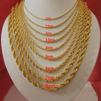 Wholesale 18K Gold Plated Necklaces For Men Top Quality Rope Chains For Necklaces Length Hot Selling Stainless Steel Fashion Jewelry