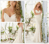 Wholesale 2016 sheath beaded straps on a soft tulle gown with delicately beaded alencon lace appliques backless Wedding Dresses