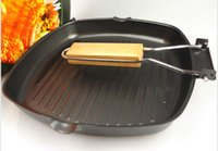 Wholesale 24CM Non Stick Foldable Cast Iron Saucepan Barbecue Baking Tray Steak Frying Pan Suite For Gas And Induction