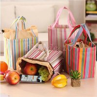 Wholesale 500pcs LJJC3154 High Quality Fashion Stripe Travel Lunch Bag Picnic Contain Cooler Insulated Thermal Waterproof Organizer Dinnerware Handbag