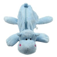 Wholesale S103 PC Blue hippo Plush Cartoon Fluffy Animal Pencil Bag Great for adults and children alike