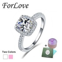 genuine diamond ring - 925 Sterling Silver Wedding Rings Two Gifts CZ Diamond for Women Engagement Jewelry Forlove Real Pure Genuine silver f9 R820