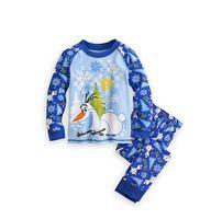 Wholesale Frozen Snow Man Boy s Pajamas Pure Cotton Children s Night Wear Boys Home Clothing Printed Tshirts Trousers Pants Set Clothes J2050