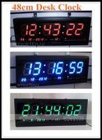 led digital wall clock - US Stock Brand New Ps Blue Red Green Digital Large Big LED Time Calendar Table Desk Wall Clock cm