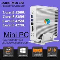 Wholesale Fanless Barebone i5 Mini PC Windows Broadwell Intel Core i5 U i5 U i5 U K HTPC Optical Nics HDMI M Wifi