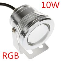 Wholesale 10W Waterproof LED Underwater Spotlights AC DC V RGB Lighting with Key IR Remote Controller Hot Sale WRGB