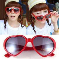 Wholesale Heart glasses cheap sunglasses heart shaped sunglasses influx of people love retro oversized mirror women