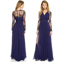 blue deep clothing - Deep V Chiffon Prom Dresses Fashion Plus Size Women Clothing Ladies Elegant Formal Lace Long Sleeve Side Split Blue Evening Gowns DHL