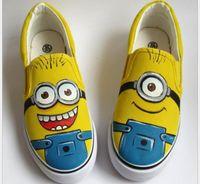Cheap Despicable Me Minion shoes minions Canvas Shoes for Women Men Sneakers 2015 hot Couple Lovers Shoes High Hand-painted Shoes Size EU 35-44