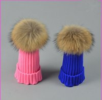 active snow - Designer Childrens Winter Raccoon Fur Hats Real cm Fur Ball Kids Rib Pom Beanies Fancy Sports Snow Caps Pink Blue Solid Color Gift