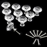 Wholesale 10X30mm Diamond Crystal Glass Door Drawer Cabinet Furniture Handle Knob Screw New EC013