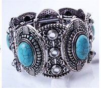 antique silver bracelets uk - UK US Trendy Nepal Antique Silver Plated Charm Bracelet Bangle For Women Fashion Imitation Turquoise Jewelry