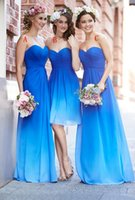 Cheap Hot Ombre Blue Bridesmaid Dresses Sweetheart Ruched Sleeveless A Line bridemaid dress Sweep Train Cheap Chiffon Bridesmaid Gowns