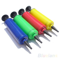 ball pump needle - Mini Plastic Hand Soccer Colors W Needle Ball Party Balloon Inflator Air Pump FE