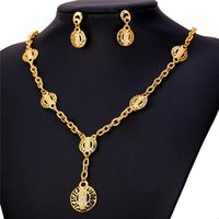 Gift africa charm necklace - Women s Hollow G Pattern Gold Earrings K Real Gold Plated Rhinestone Africa Vintage Charm Necklace Set