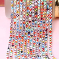 Wholesale yards SS8 mm Mix Color Rhinestone Cup Chain DIY Dense Pointback Crystal Glass Stone Chains
