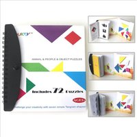 Wholesale 72 puzzles magnetic Tangram kids toys challenge your IQ a Montessori educational magic book suit for years old